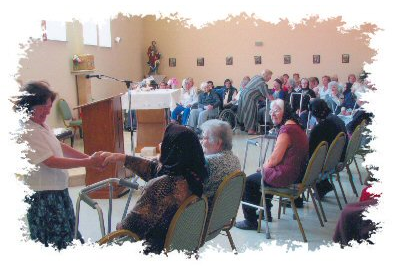 Many pilgrim groups come to attend Mass with the residents.
