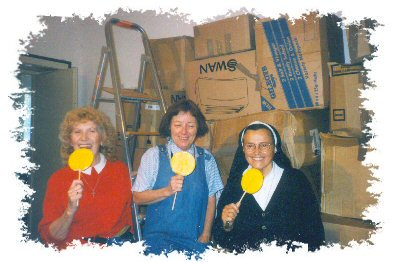 Nora, Mary and Sr. Muriel taking time out for a break.